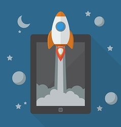 Rocket launching from tablet vector