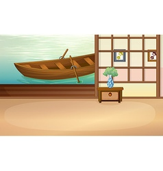 Rowboat floating outside the house vector