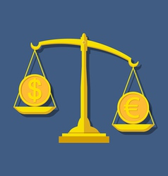 Scales with Dollar and Euro symbols Foreign vector image