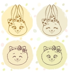 set bunny and cat vector image