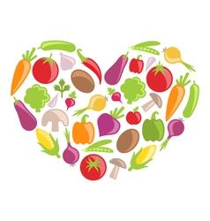 Set Colorful Vegetables in Heart Shape vector image