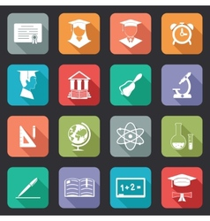 Set of flat school and education icons vector