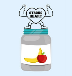 Strong heart fitness food healthy vector