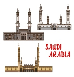 Travel landmarks of Saudi Arabia icon with mosques vector image