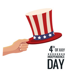 united states independence day hat symbol poster vector image vector image