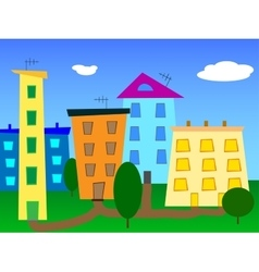 Urban landscape abstract cartoon city vector