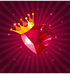 valentine card with crystal heart vector image