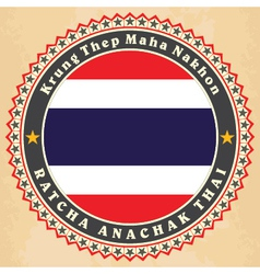 Vintage label cards of thailand flag vector