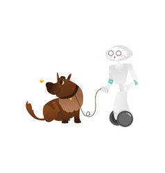 Wheeled robot assistant walking the dog on a leash vector