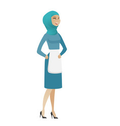 Young muslim cleaner laughing vector