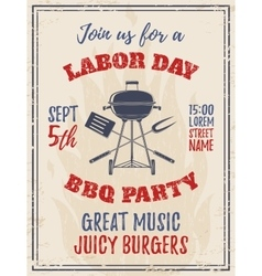 Vintage labor day bbq party background vector
