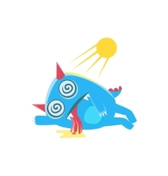 Blue monster with horns and spiky tail heat vector