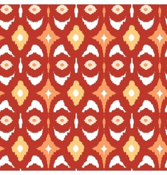 Red and gold ikat geometric seamless pattern vector