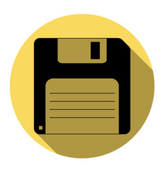 Floppy disk sign  flat black icon with vector