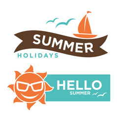 Summer hello holidays logotype with sun in vector