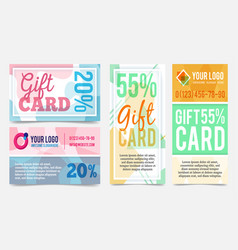 Abstract geometric gift cards design templates vector
