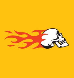 flaming skull retro hot rod motorcycle design vector image