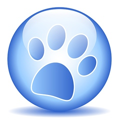 Paw button vector image