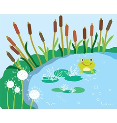 Lake cartoon with lily and frog vector