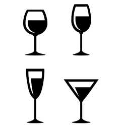 Set of isolated wine glasses icons vector