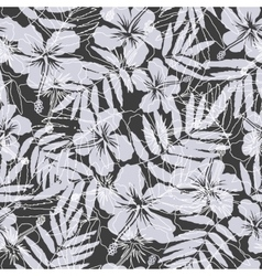 Black and gray tropical flowers silhouettes vector