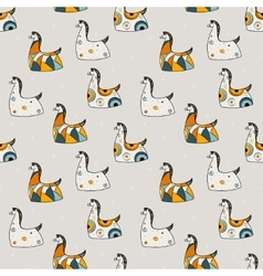 Seamless pattern yellow and blue horse on gray vector