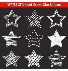 Set of hand-drawn textures star shapes vector image