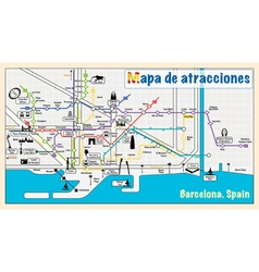 Welcome to barcelona attractions on map vector