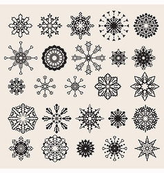 25 snowflakes set vector