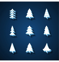 Set of christmas trees 3d icons vector