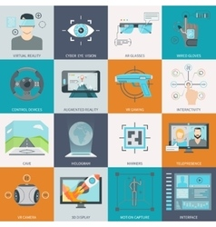 Virtual augmented reality icons vector