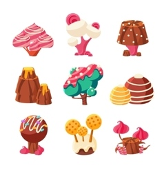 Fantasy Sweet Trees Set vector image