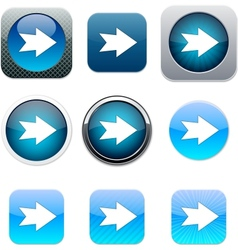 Forward arrow blue app icons vector
