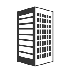 Black tall building with white windows vector