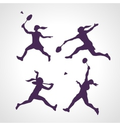 Silhouettes of women professional badminton vector