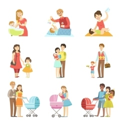 Happy Families With Kids And Babies vector image