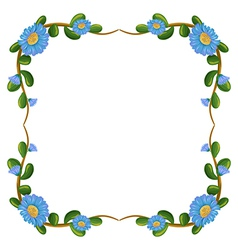 A border design with blue flowers vector