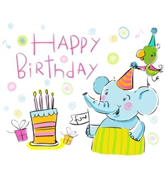 Birthday elephant and a parrot vector image vector image