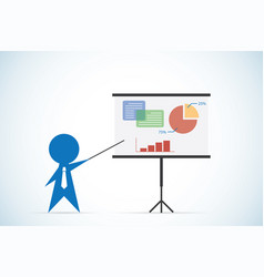 Businessman with pointer stick and presentation vector