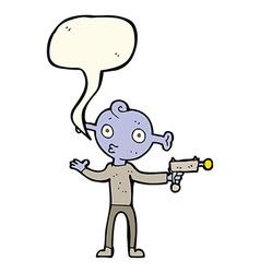 Cartoon alien with ray gun with speech bubble vector