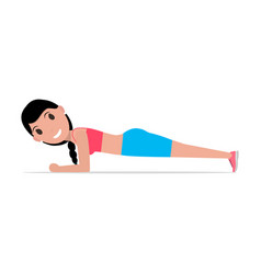 Cartoon girl doing exercise forearm plank vector