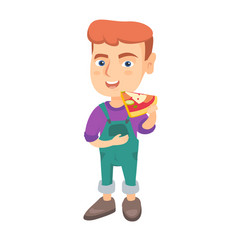 caucasian boy eating tasty pizza vector image