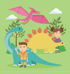 Caucasian kids playing with dinosaurs outdoor vector