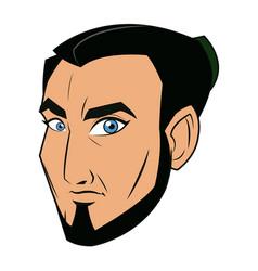 Character face samurai man warrior design vector
