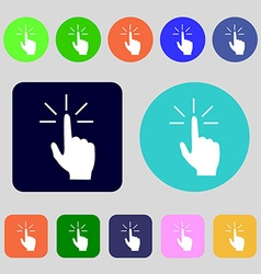 Click here hand icon sign 12 colored buttons flat vector