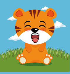 cute tiger animal cartoon vector image