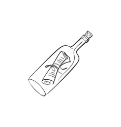 Doodle bottle with a note vector