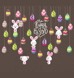 easter eggs and bunny funny hanging on the wire vector image vector image