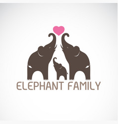 Family elephants and pink heart vector