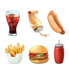 Fast food cartoon icons set vector image